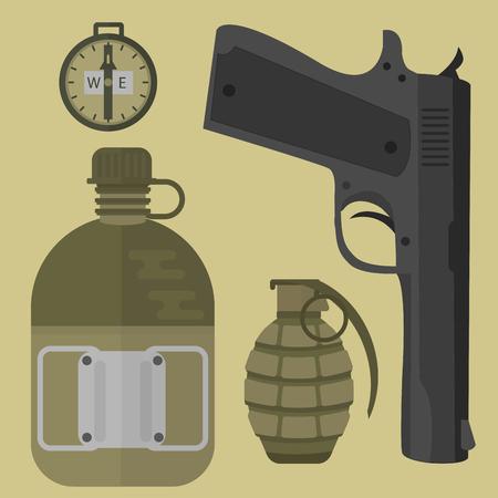 Wapen concept omvat handgun, pistool, pictogrammen; militaire kogel, pistool, munitie, legerhulpmiddel. Stock Illustratie