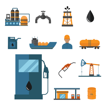 Mineral oil petroleum extraction production transportation factory logistic equipment icons illustration; Energy processing platform, Petroleum industry technology design. Illustration