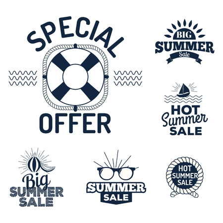 Summer sale logo clearance element vector advertising badges isolated. Some shopping big mega hand drawn collection of labels. Vector set of comic speech bubbles stickers. Illustration
