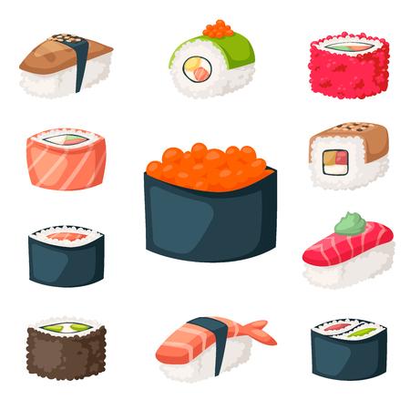 Sushi cuisine japonaise cuisine traditionnelle plat sain icônes gastronomiques et restaurant oriental riz asie repas plaque culture rouleau vector illustration. Plat de régime de fruits de mer frais délicieux. Banque d'images - 88270136