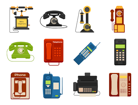 Vector vintage phones retro lod telephone call number connection device technology receiver classic communication illustration. Antique line rotary office telephonic connect Illusztráció