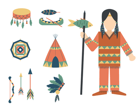 Indians icon temple ornament and element retro vintage hinduism ethnic people tools vector illustration. Çizim