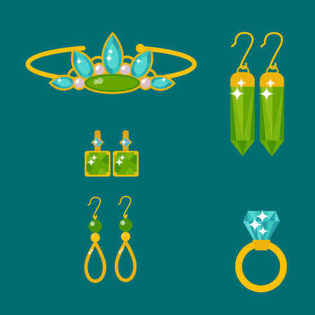Set of vector jewelry items gold and gemstones precious accessories fashion items vector illustration. Illustration