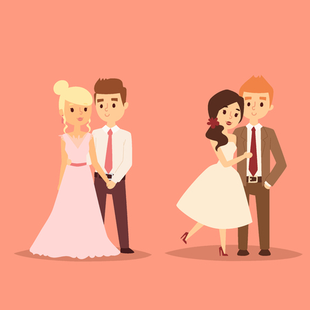 Wedding couple is hugging each other vector beautiful model girl in white dress and man in suit. Illustration