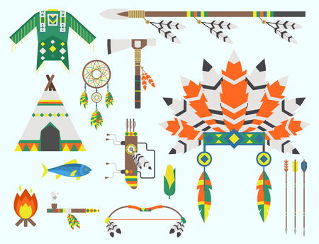 Wild west american indian designed element traditional art concept and native tribal ethnic feather culture ornament design vector illustration. Vintage abstract aztec decoration Illustration
