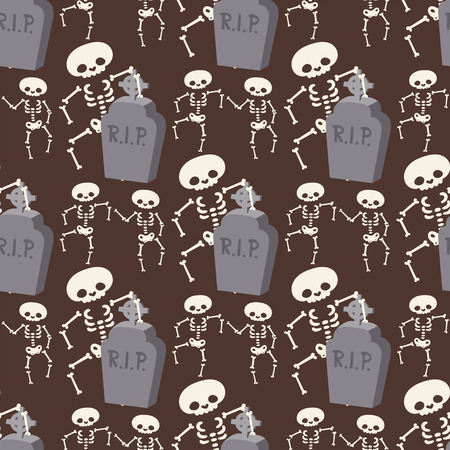 Halloween skeleton seamless pattern background night rip party trick or treat candies vector illustration. Illustration