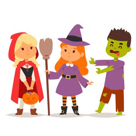 Cute kids wearing Halloween costumes in cartoon style illustration. Vettoriali