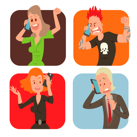 Business professional people with phone and female executive success character with cellphone illustration.