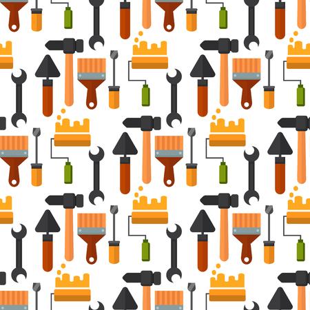 Bouw hulpmiddelen werknemer apparatuur huis renovatie naadloze patroon achtergrond klusjesman vectorillustratie. Stock Illustratie