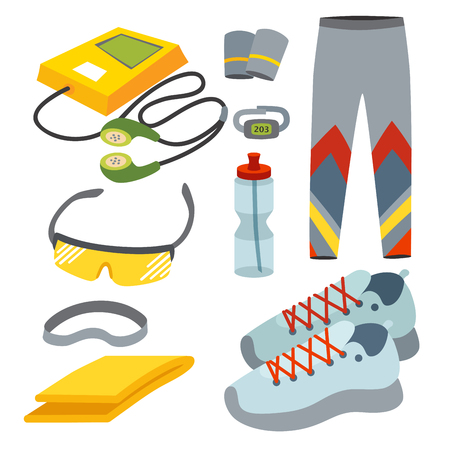 dressing: Sportswear running clothes runner gears for sport workout vector illustration