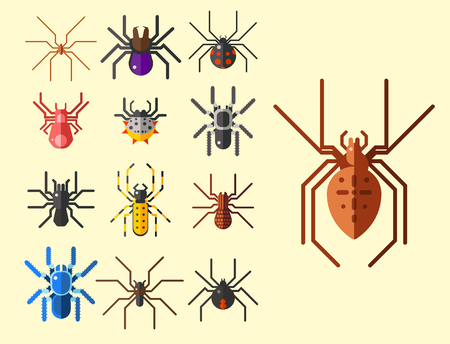 Spider web silhouette arachnid fear graphic flat scary animal design nature insect danger horror halloween vector icon. Stock Vector - 88289903