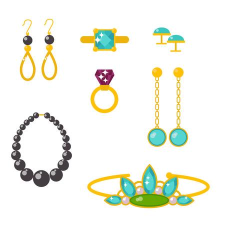 Elementos de la joyería de oro de los accesorios de encaje de seda de los accesorios de la diversión ilustración Foto de archivo - 88289901