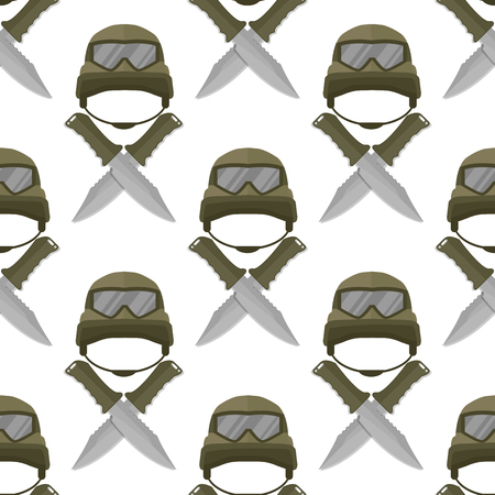 Military modern camouflage helmet army protection seamless pattern background soldier uniform hat protective steel armed equipment vector illustration.