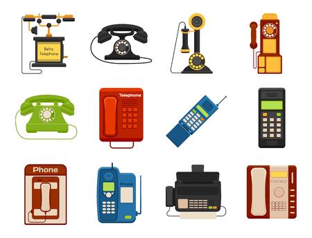 벡터 빈티지 전화 레트로 lod 전화 번호 연결 장치 기술 전화 그림 일러스트