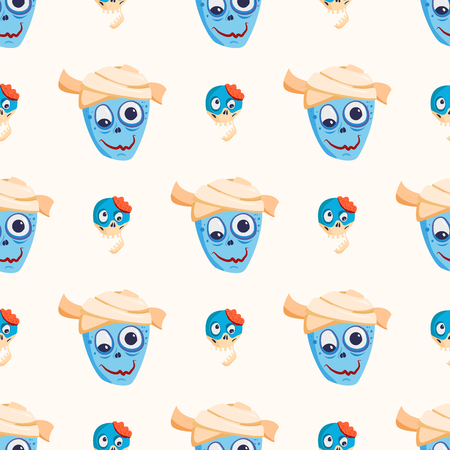 Colorful zombie scary cartoon character seamless pattern magic people body part cartoon fun monster vector illustration