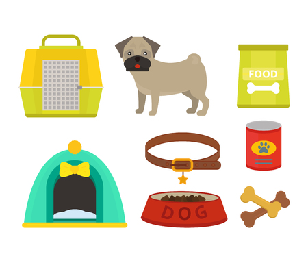 Pug dog playing vector illustration elements set flat style puppy domestic pet accessory. Illustration