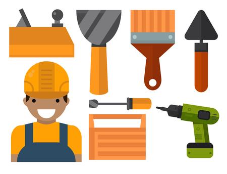 Construction tools worker equipment house renovation handyman vector illustration. Illustration
