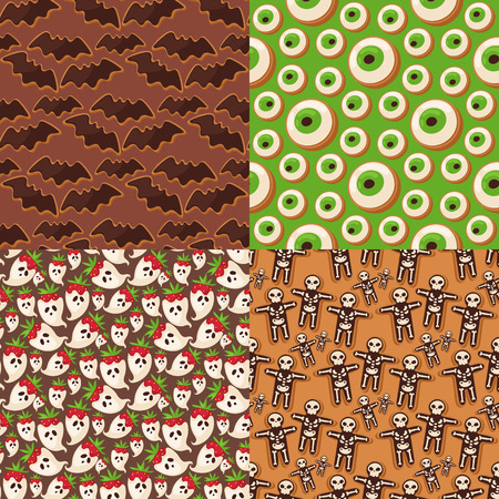 spectre: Halloween cookie seamless pattern background food night cake party trick or treat candies vector illustration. Illustration