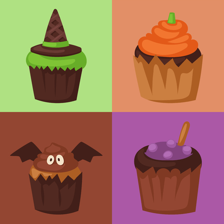 Halloween cupcake cookie food night cake party trick or treat candies vector illustration.