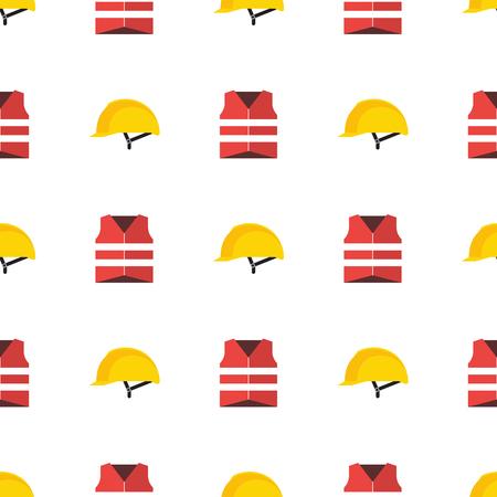 Gele plastic helm of van de de bouwvakker van de bouwveiligheid van het de hoofd veilige apparatuur naadloze patroon vectorillustratie. Stock Illustratie