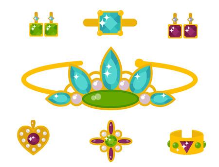 Vector joyas artículos oro elegancia piedras preciosas accesorios moda ilustración Foto de archivo - 88495207