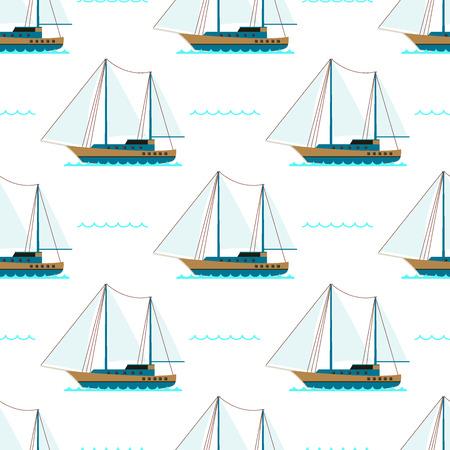 Schip kruiser boot zee naadloze patroon vaartuig reizen industrie vector zeilboten cruise set van mariene achtergrond. Stock Illustratie
