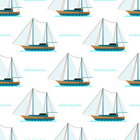 Ship cruiser boat sea seamless pattern vessel travel industry vector sailboats cruise set of marine background. Illustration