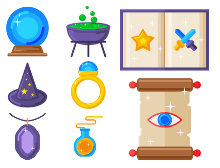 Special magic symbol magician fantasy carnival mystery tools cartoon miracle decoration vector illustration.