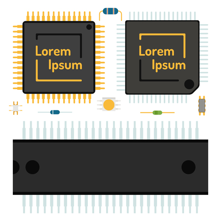 Computer chip technology processor circuit motherboard information system vector illustration Çizim