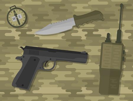 Weapons vector handgun pistol submachine hand gun handgun military bullet handgun ammunition army tool. Illustration
