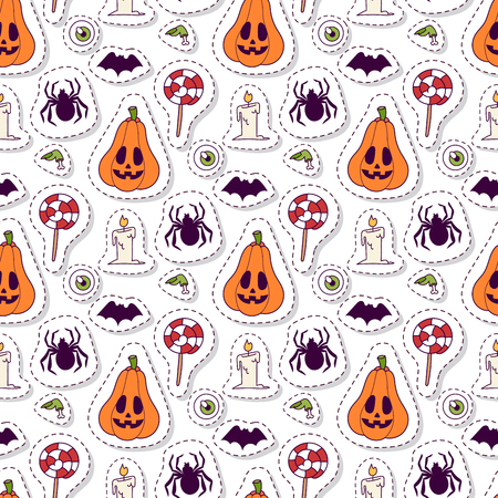 Halloween carnival seamless pattern background vector illustration with pumpkin and ghost spooky october autumn fear creepy traditional sign.