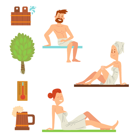 Bath people body washing face and bath taking shower steam take luxury relaxation characters vector illustration