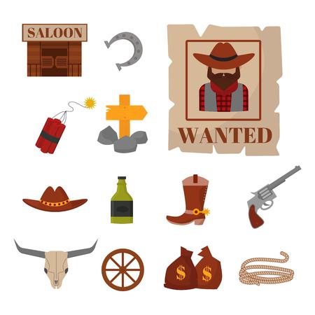 Vintage western cowboys vector signs american symbols vintage old designs cartoon icons illustration. Eraditional farm culture fashion sign.