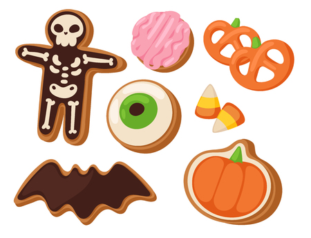 Halloween cookie symbols of food night cake party trick or treat candies vector illustration. Illustration