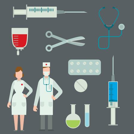Medical symbols emergency sign cross first sterile hospital bandages ambulance doctor vector illustration.