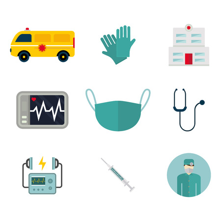 Ambulance icons vector medicine health emergency hospital urgent pharmacy pill support paramedic treatment