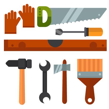 Construction tools worker equipment house renovation handyman vector illustration. Çizim