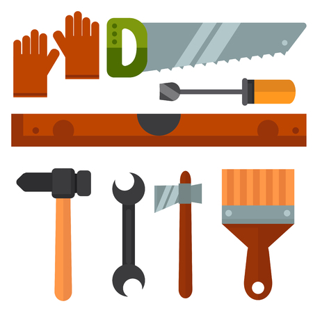 Construction tools worker equipment house renovation handyman vector illustration. Illustration