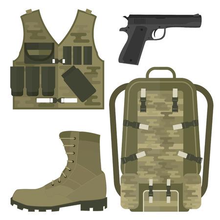 Arma de armas militares armadura forças americana munição de lutador camuflagem sinal ilustração vetorial. Ilustración de vector