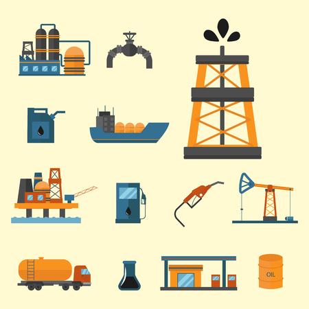 Minerale olie aardolie-extractie productie transport fabriek logistieke apparatuur vector iconen illustratie