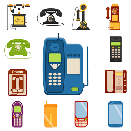 ベクトル ヴィンテージ レトロな lod 電話番号接続デバイス技術電話イラストを携帯電話します。  イラスト・ベクター素材