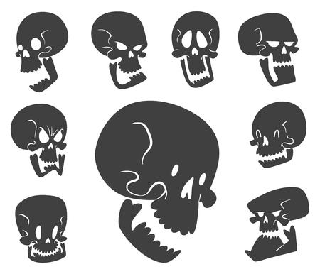 Skull bones, human face Halloween horror crossbones. Vector illustration on white background. Illustration