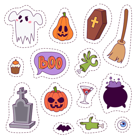 Halloween carnival symbols patchwork. Vector illustration of pumpkin and ghost, spooky traditional sign.