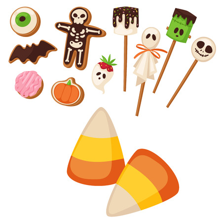 Halloween cookie symbols of food night cake party, trick or treat candies vector illustration.