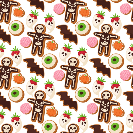 Halloween cookie seamless pattern background. Food night cake party, trick or treat candies vector illustration.