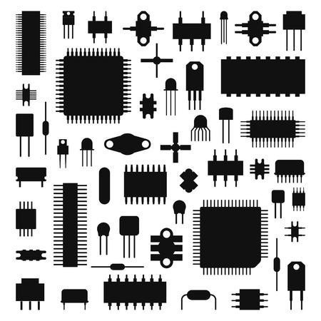 Computer chip technology vector illustration
