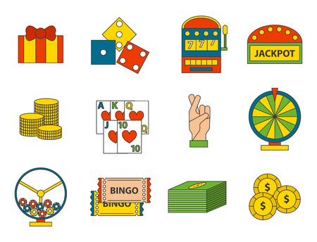 Casino game icons Illustration