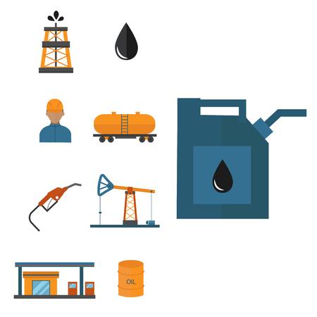 Mineral oil petroleum vector icons illustration Illustration