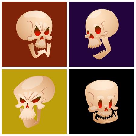 Skull bones human face cards halloween horror crossbones.