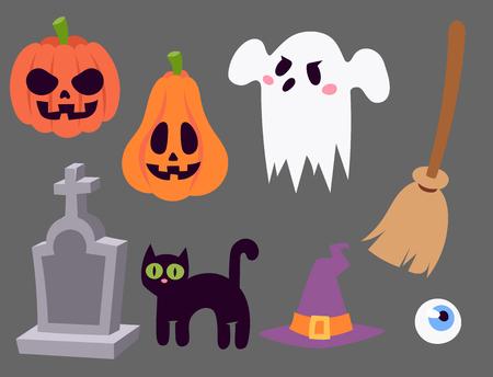 Halloween carnival symbols icons. Illustration